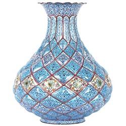 خرید اینترنتی گلدان مسی میناکاری گالری گوهران مدل تنگ بزرگ - 1102 , قیمت انواع میناکاری متفرقه